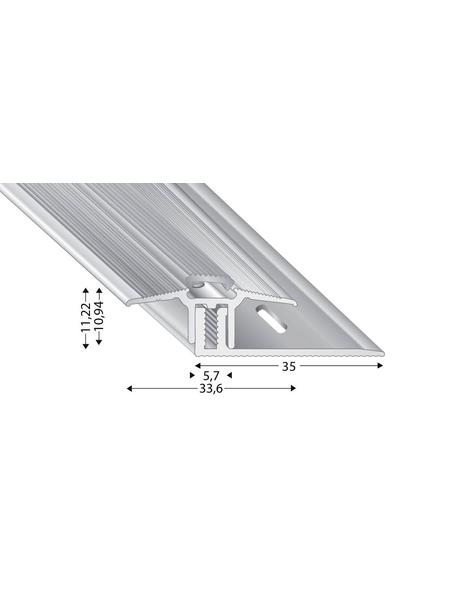 KÜGELE PROFILE Übergangsprofil-Set »TRIO GRIP® x«, edelstahlfarben, BxLxH: 33,6 x 1000 x verstellbar 7-15 mm