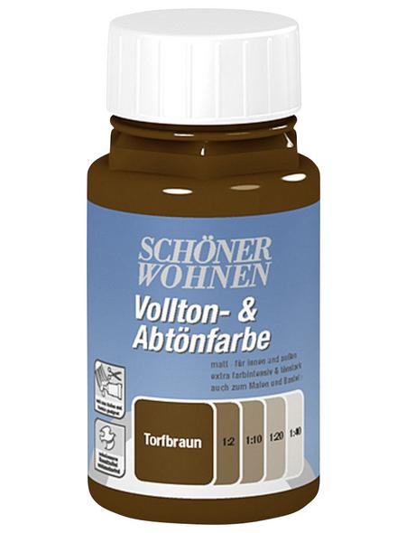 SCHÖNER WOHNEN FARBE Voll- und Abtönfarbe, torfbraun, 125 ml