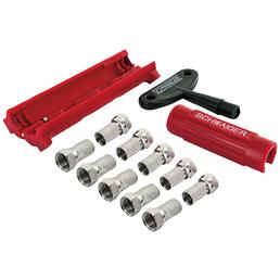 SCHWAIGER Abisolier-Montage-Werkzeug Set, 13-teilig, für Koaxialkabel