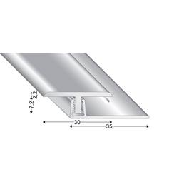 KÜGELE PROFILE Abschlussprofil Set »T-FLEX«, BxL: 30 x 2700 mm, Höhe: 7-13 mm, silberfarben