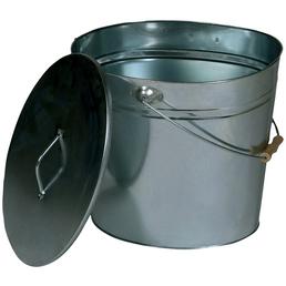 Ascheeimer, Metall verzinkt, Silber