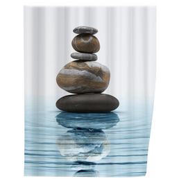 WENKO Duschvorhang »Meditation«, BxH: 180 x 200 cm, Steine/Wellen, mehrfarbig