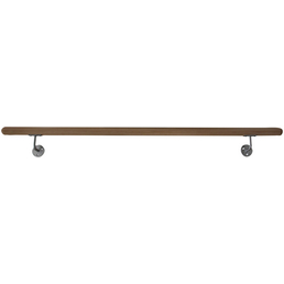 METALL & DESIGN Handlauf montagefertig, 180 x 10 cm, Edelstahl | Holz