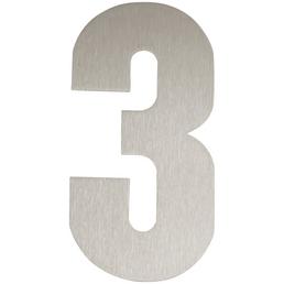 SÜDMETALL Hausnummer, 3, Silber, Edelstahl, 15,7 x 22,7 x 1,8 cm