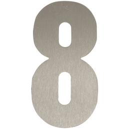 SÜDMETALL Hausnummer, 8, Silber, Edelstahl, 15,7 x 22,7 x 1,8 cm