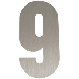 SÜDMETALL Hausnummer, 9, Silber, Edelstahl, 15,7 x 22,7 x 1,8 cm