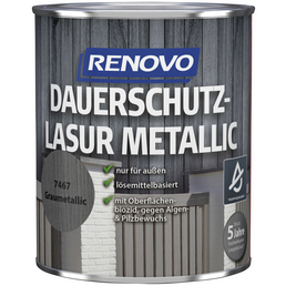 RENOVO Holzschutz-Lasur, Farbton grau, für außen, 0,75 l