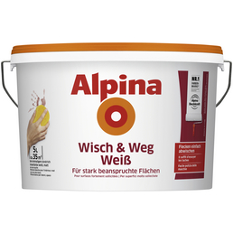 alpina Innenfarbe »Wisch und Weg«, weiß, 5 l, 7 m²/l