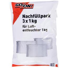 GO/ON! Nachfüllpaket für Luftentfeuchter, für Räume bis 35 m², 1,7 l, Calciumchlorid-Granulat