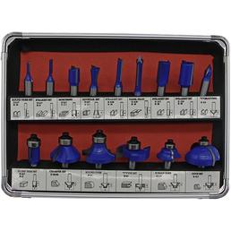 FISCH Oberfräser-Set, 8 mm, Blau, 15-teilig, für Hart- und Weichholz