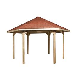 WEKA Pavillon-Set, sechseckig, BxT: 399 x 461 cm, inkl. Dacheindeckung