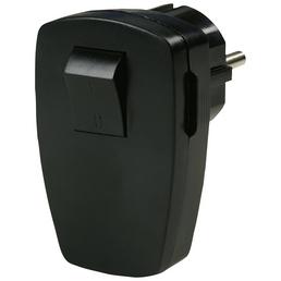 REV Schutzkontakt-Stecker, 250 V, Schwarz