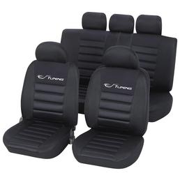 UNITEC Sitzbezug-Set, TUNING, Schwarz, Polyester, 14-tlg., für hinten und vorne
