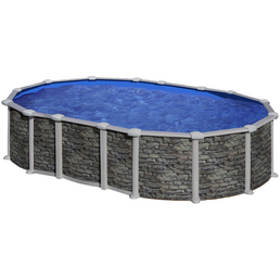 GRE Stahlwand-Pool Poolset , oval, BxLxH: 375 x 610 x 132 cm