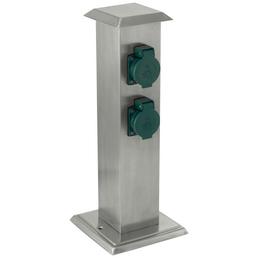 EGLO Steckdosensäule »Park 4«, 4 Steckdosen, Kunststoff & Edelstahl, grün & edelstahlfarben