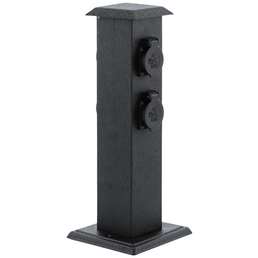 EGLO Steckdosensäule »Park 4«, 4 Steckdosen, Kunststoff & Stahl, schwarz