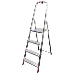 Stehleiter, 4 Stufen, Aluminium/Stahl