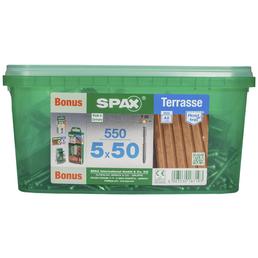 SPAX Terrassenschraube, 5 mm, Edelstahl rostfrei, 1 Stk., Terrasse A2 5x50 Bonus Set HKB L