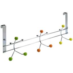HETTICH Türhängegarderobe, Silber/Gelb/Grün/Orange, 3 Haken, Stahl/Porzellan, 200 x 480 x 73 mm