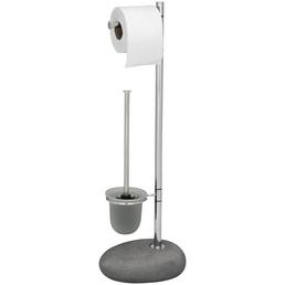 WENKO WC-Bürsten & WC-Garnituren »Pebble«, Höhe: 70 cm, grau/chromfarben