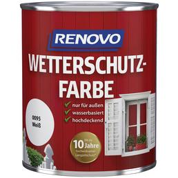 RENOVO Wetterschutzfarbe, für außen, 0,75 l, weiß, seidenglänzend