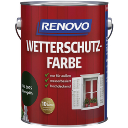 RENOVO Wetterschutzfarbe für außen, 2,5 l, Moosgrün, seidenglänzend