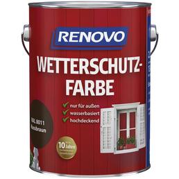 RENOVO Wetterschutzfarbe, für außen, 2,5 l, Nussbraun, seidenglänzend