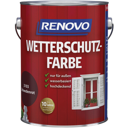 RENOVO Wetterschutzfarbe für außen, 2,5 l, rot, seidenglänzend