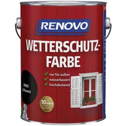 RENOVO Wetterschutzfarbe für außen, 2,5 l, Schwarz, seidenglänzend