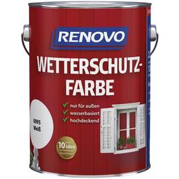 RENOVO Wetterschutzfarbe für außen, 2,5 l, weiß, seidenglänzend